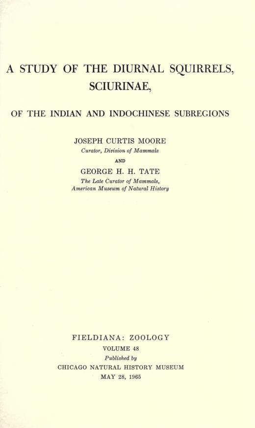 A study of the diurnal squirrels, Sciurinae, of the Indian and Indochinese subregions