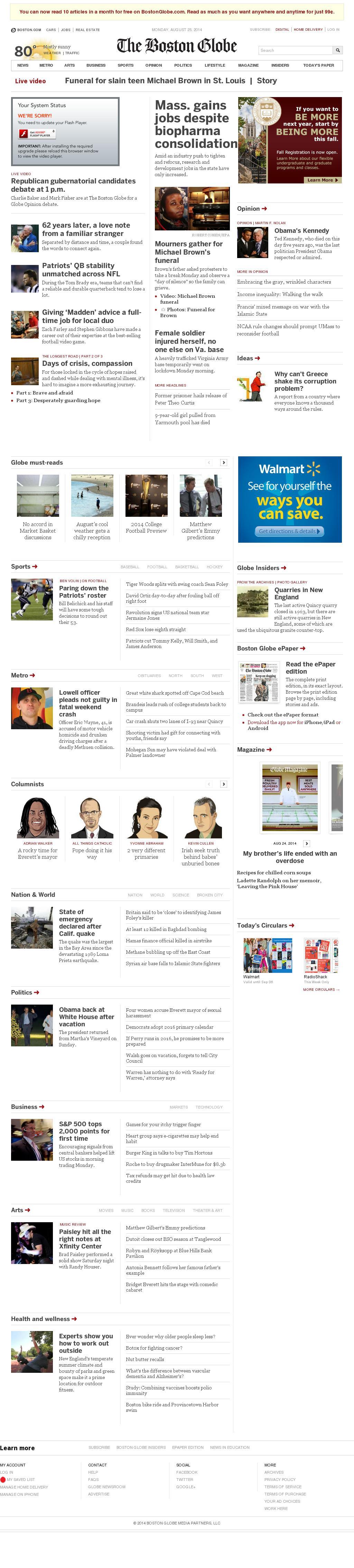 The Boston Globe at Monday Aug. 25, 2014, 5:02 p.m. UTC