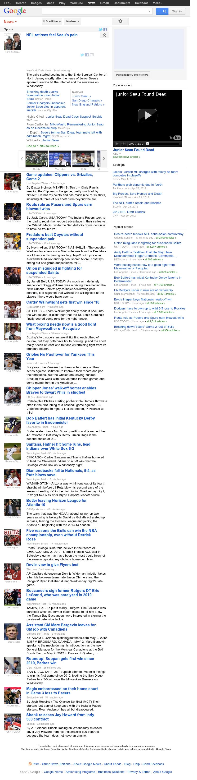 Google News: Sports at Thursday May 3, 2012, 4:09 a.m. UTC