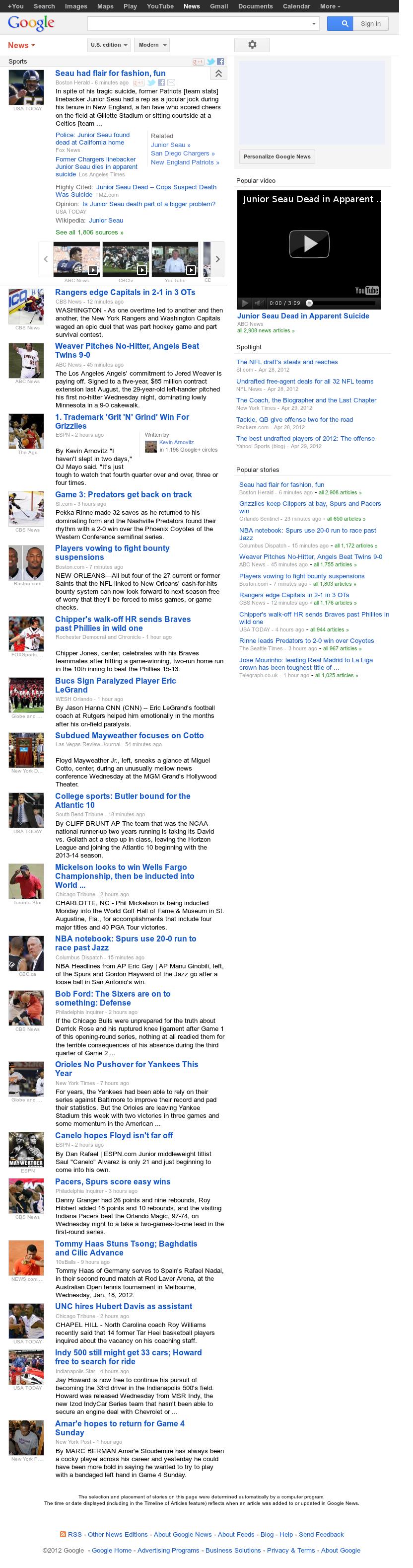 Google News: Sports at Thursday May 3, 2012, 10:06 a.m. UTC