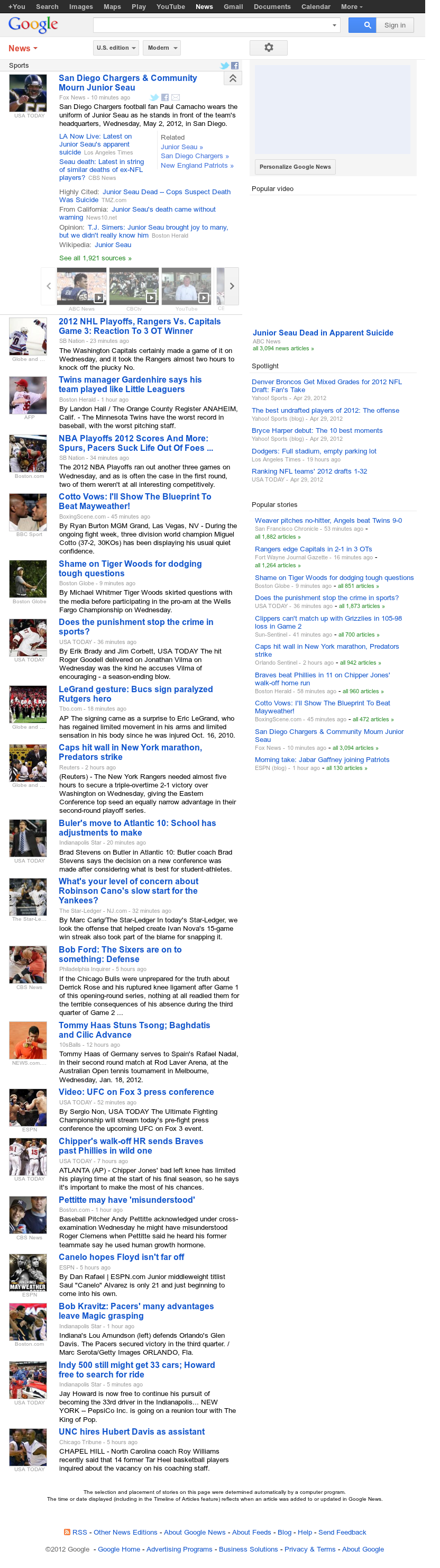Google News: Sports at Thursday May 3, 2012, 1:06 p.m. UTC