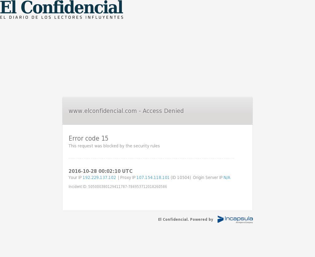 El Confidencial at Friday Oct. 28, 2016, 12:03 a.m. UTC