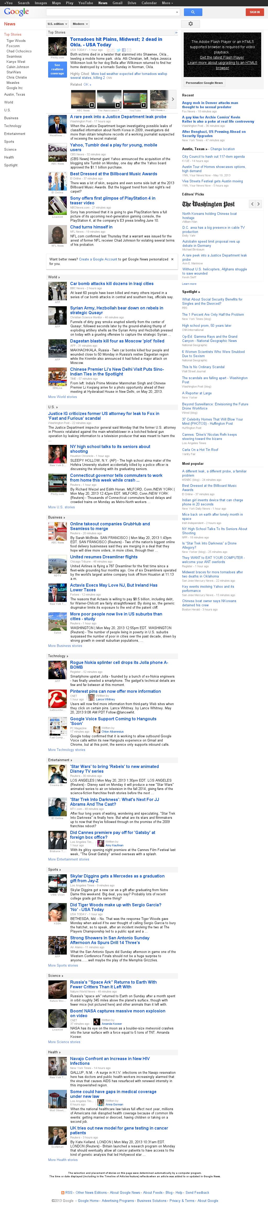 Google News at Monday May 20, 2013, 6:06 p.m. UTC