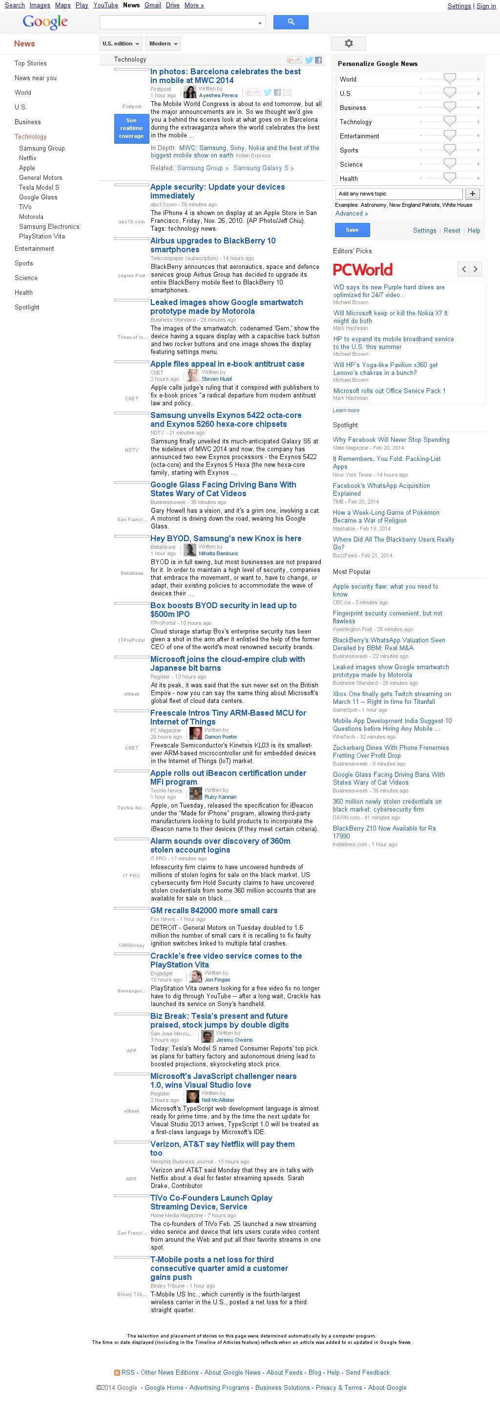 Google News: Technology at Wednesday Feb. 26, 2014, 10:08 a.m. UTC