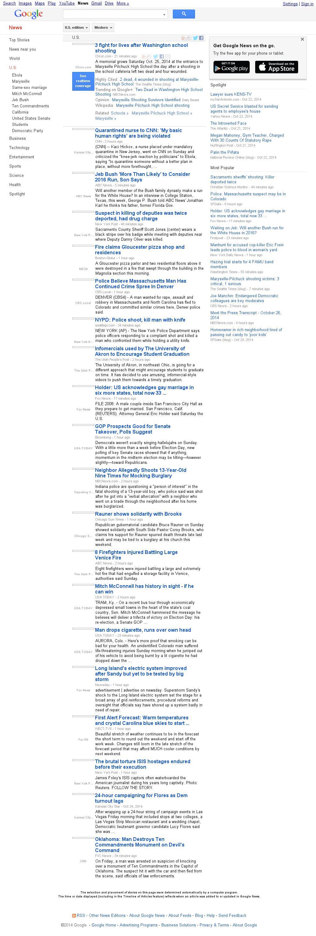 Google News: U.S. at Sunday Oct. 26, 2014, 9:07 p.m. UTC