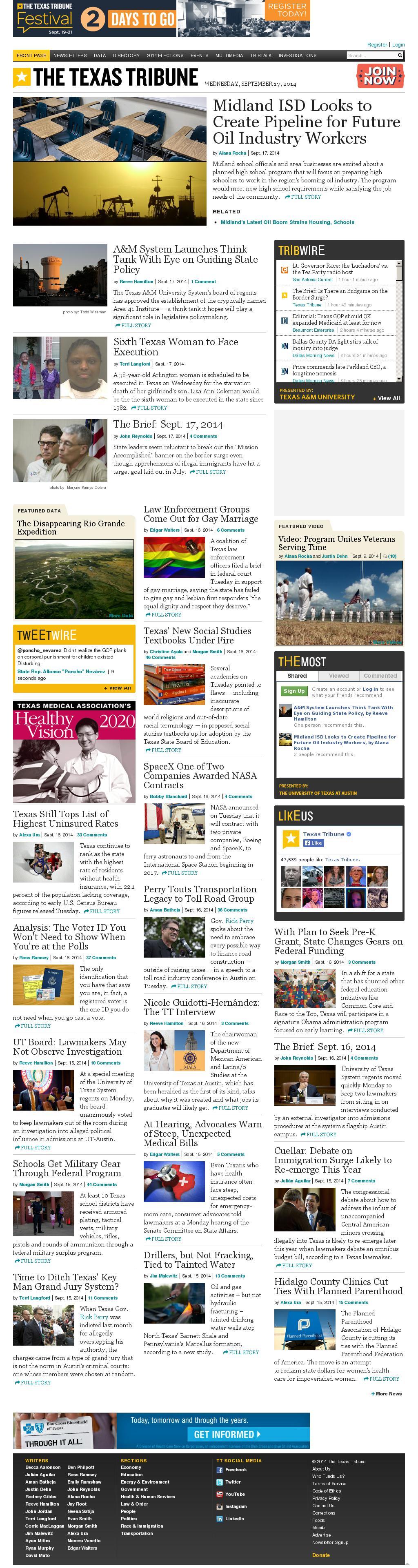 The Texas Tribune at Wednesday Sept. 17, 2014, 1:21 p.m. UTC