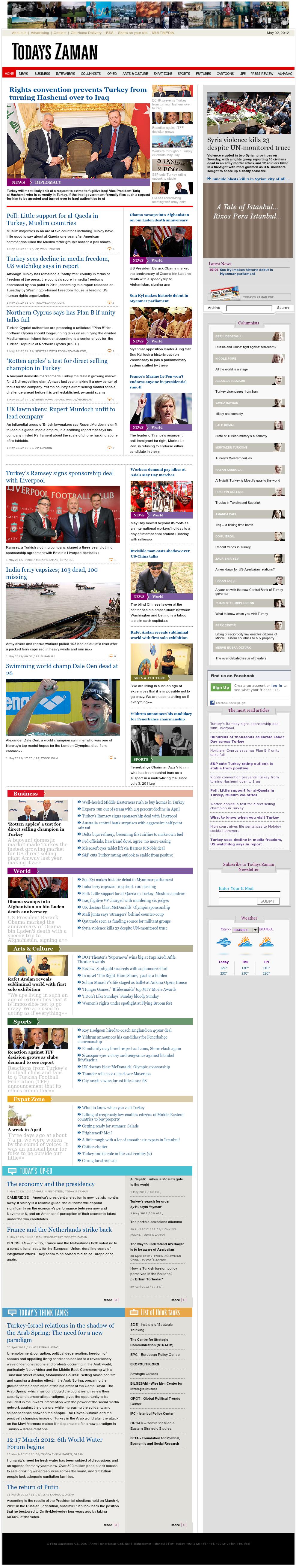 Zaman Online at Wednesday May 2, 2012, 7:21 a.m. UTC
