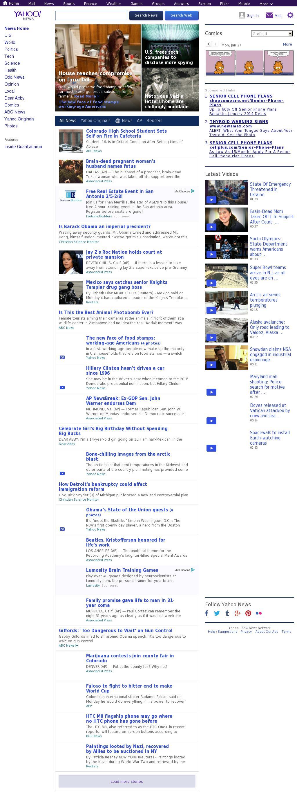 Yahoo! News at Tuesday Jan. 28, 2014, 2:26 a.m. UTC