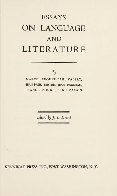 Essays on language and literature by J. L. Hevesi