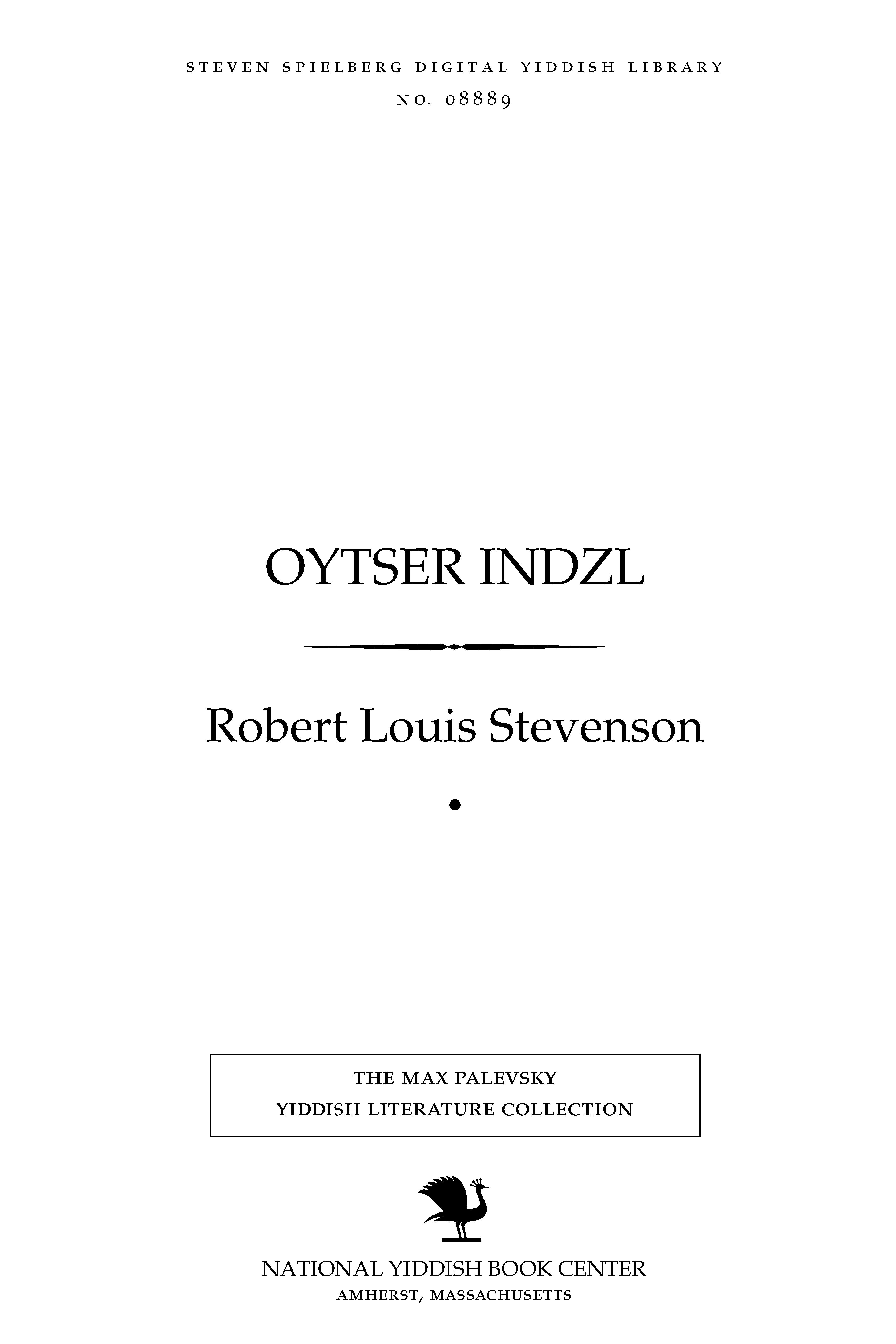 Cover of: Oytser Indzl